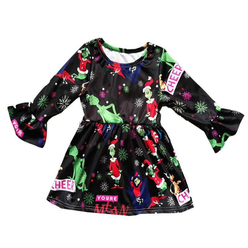Christmas Dress for Baby Girls Ruffle Long Sleeve Cartoon Print Lovely  Christmas Princess Party Dress Children 703a227d2526