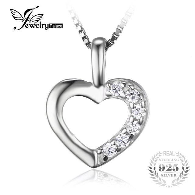 JeweryPalace Heart Love Wedding Engagement Pendant Neckalaces 43cm 925 Sterling Silver Fine Jewelry Necklace Chain For Women