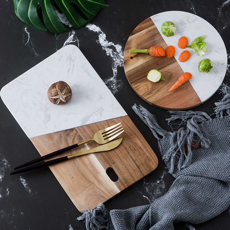 Kitchen accessories marble+ wood board