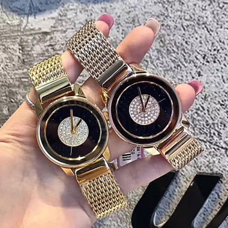 New Fashion Brand Women Golden Wrist Watches Street Snap Luxury Female Jewelry Quartz Clock Ladies Wristwatch 2017 reloj mujer new grub street