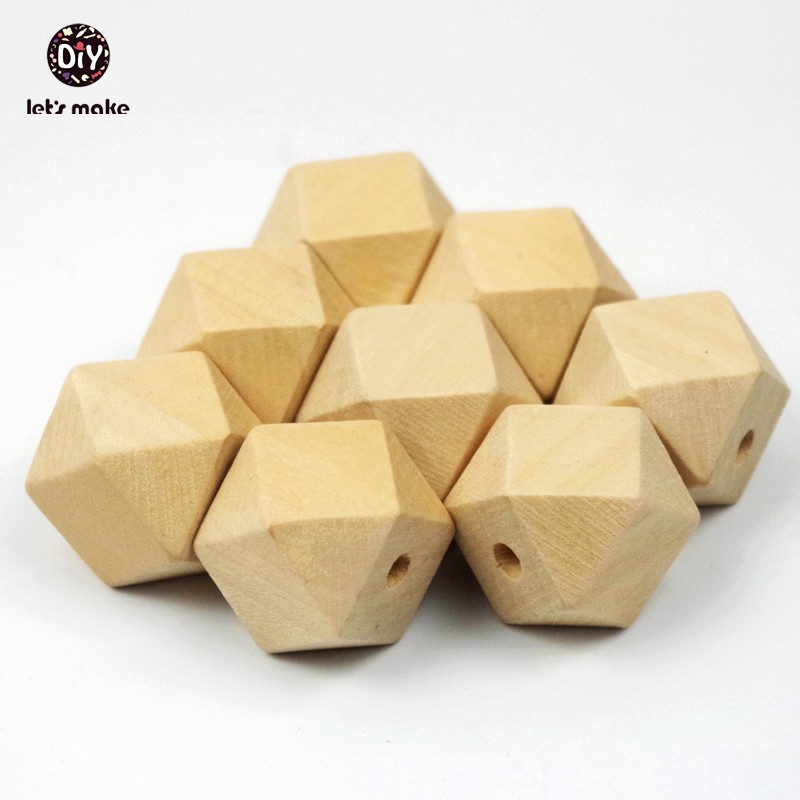 Let's Make Baby Teether 30pc (16mm-20mm) Hexagon Wooden Beads DIY Maple Baby Pacifier Geometric Teething Beads Wooden Teether