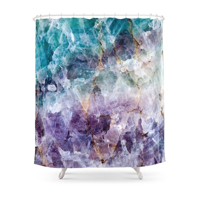 Turquoise Purple Quartz Crystal Shower Curtain Polyester Fabric Bathroom Home Decoration Waterproof Print Curtains