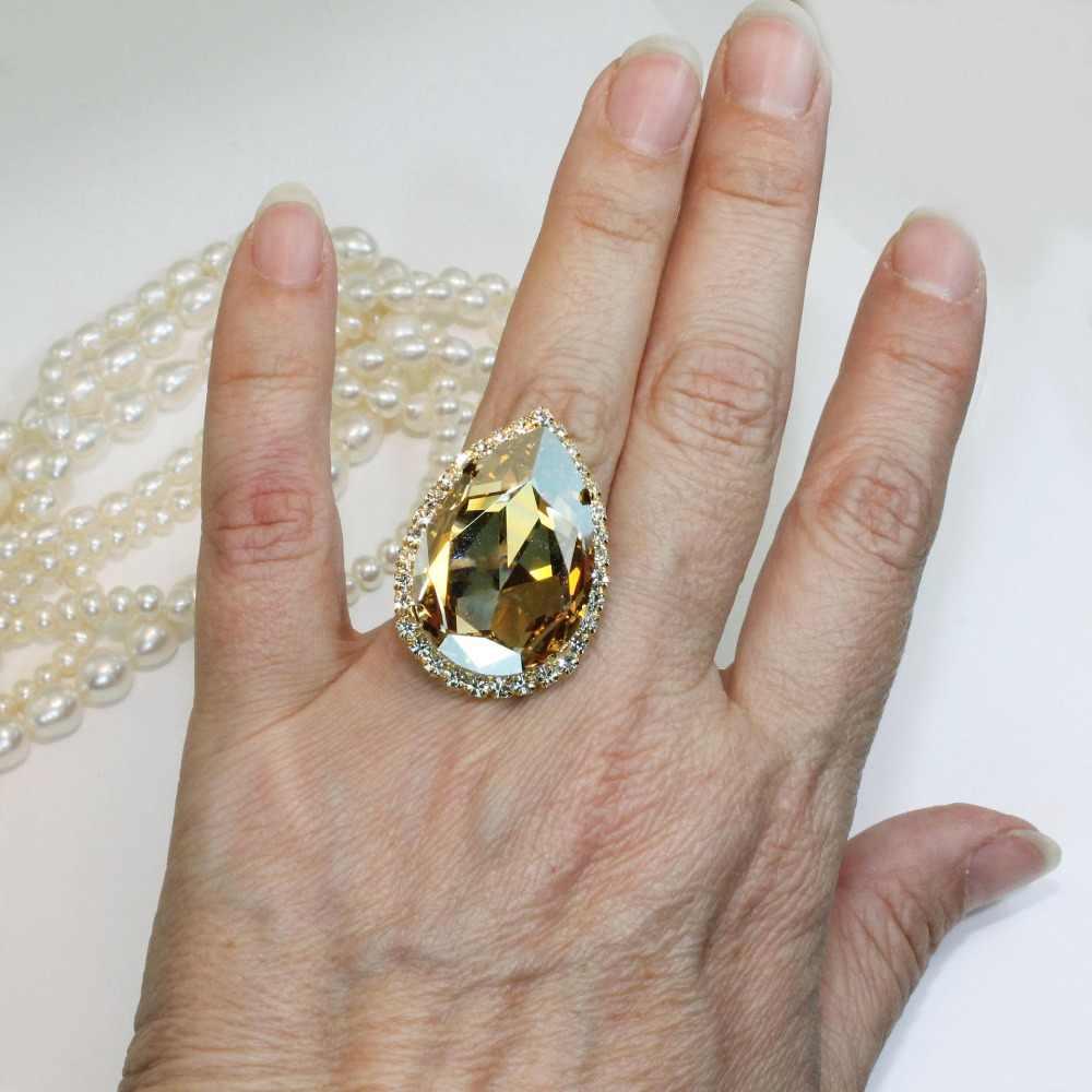 Luxury ชายหญิงคริสตัล Zircon แหวนหินสี Yellow Gold เครื่องประดับงานแต่งงานแหวนหมั้นสำหรับ Wome