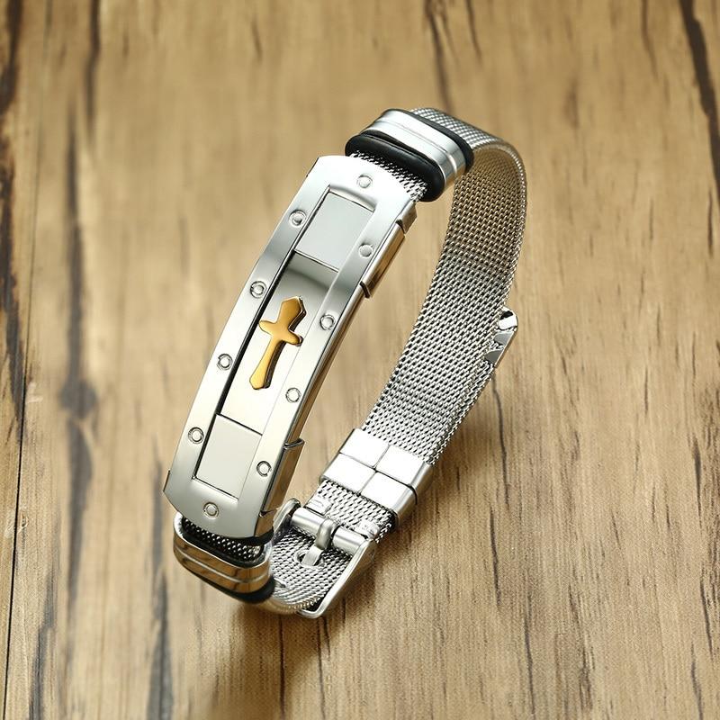 Vnox Mens Cross Cuff Bangle Bracelet Stainless Steel ID Bracelet for Male Boy Ceremony Masculino Jewelry Size Adjustable