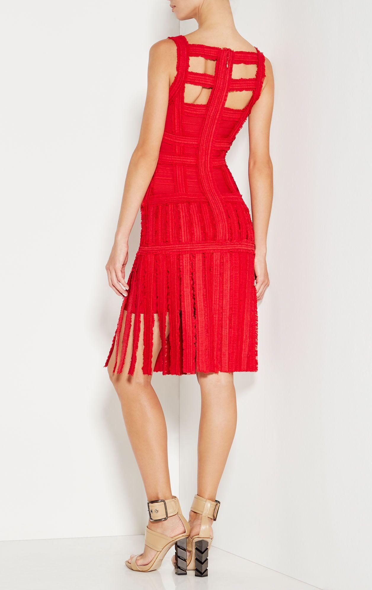 2019 hl nieuwe cocktail party clubwear night out formele fringe kwastje mouwloze chiffon sheer zwart rood wit vrouwen bandage jurk - 3