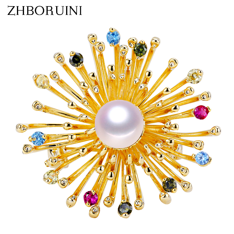ZHBORUINI Fine Jewelry High Quality Natural Freshwater Pearl Brooch Chrysanthemum Pins Women Decoration