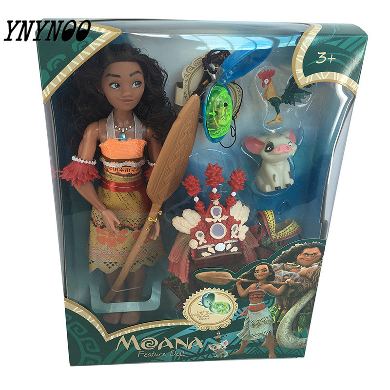 YNYNOO 28cm Moana Action Figures Chick Heihei Spotted Pig Light Music Toys Model Doll For Girls  Kids Lover Christmas Gift gonlei moana waialiki maui heihei abs weapons light sound saber fishing action figures moana adventure abs toy lightsaber gift