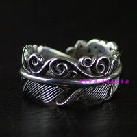 Thailand Imports The Boys Retro Feather Silver Ring Opening
