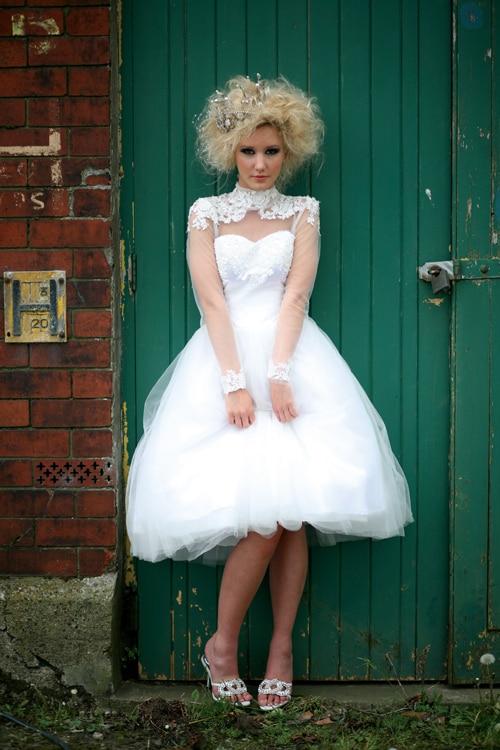 custom high neck romantic sexy casamento short bride long sleeve vestido de noiva 2018 fashion free shipping   bridesmaid     dresses