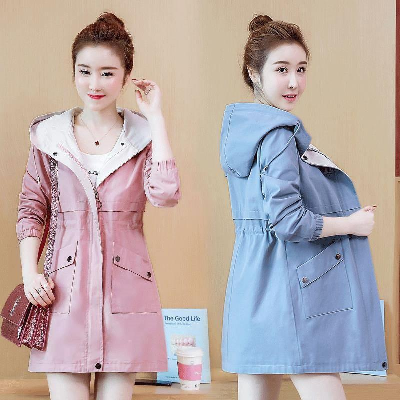 2019 New Spring Autumn Women Fashion Slim Plus Size 3XL Hooded Drawstring Mid-Long Trench Coat Female Zipper Windbreaker R129