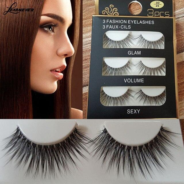 d9e599b2183 3 pairs / set 3D Cross Thick False Eyelashes Extension Makeup Super Natural  Long False Eyelashes M02913