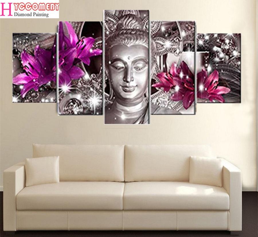 5pcs / set 5D Diamond Painting Cross Stitch flowers buddha, full square 5d Diamond Embroidery Home Decor Diamond Mosaic sticke