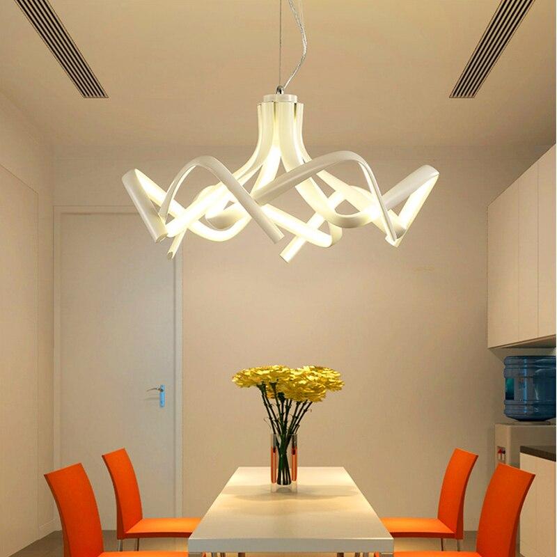 Pós-moderna Criativo Led Lustre Lustres De Alumínio Acrílico Para sala de estar Quarto Lustre Novo Regulável Modern Luminárias
