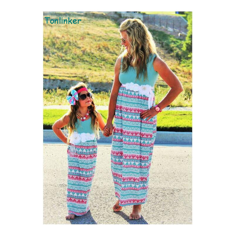 tonlinker 2018 summer Mommy and me family matching mother daughter dresses print floral dress kids parent child clothes