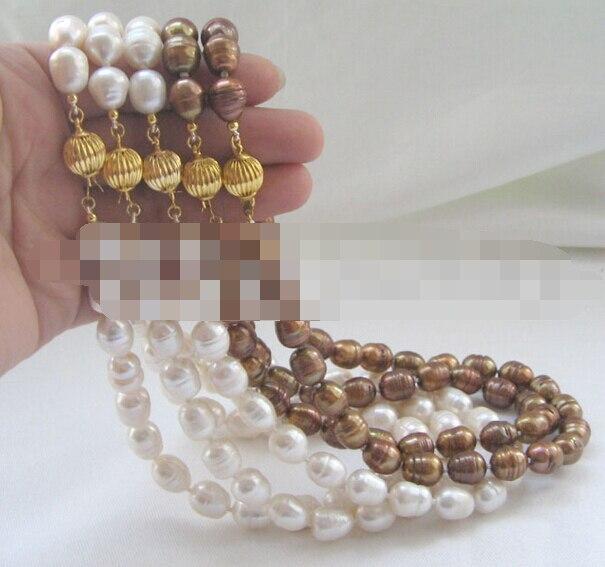 10768 5 pièces blanc café riz baroque d'eau douce collier de perles