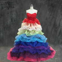 Real Work Strapless Tiered Organza Colorful Rainbow Wedding Dress China