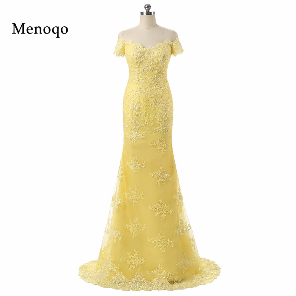 PRD-0302 Mermaid Off Shoulder Applique Lace Vestido De Festa Longo Yellow Real Photo   Prom     Dresses   Formal Robe De Soiree
