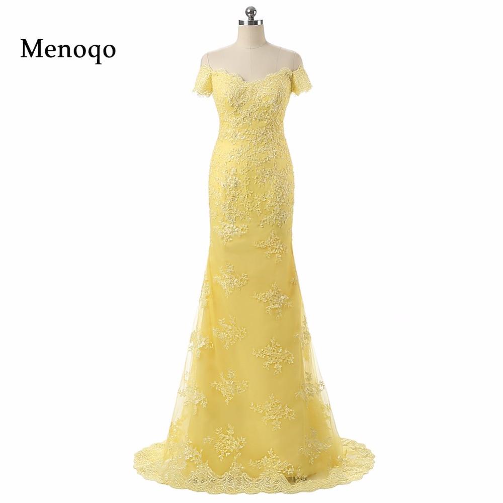PRD-0302 Mermaid Off Shoulder Applique Lace Vestido De Festa Longo Yellow Real Photo   Prom     Dresses   Formal Robe De Soiree