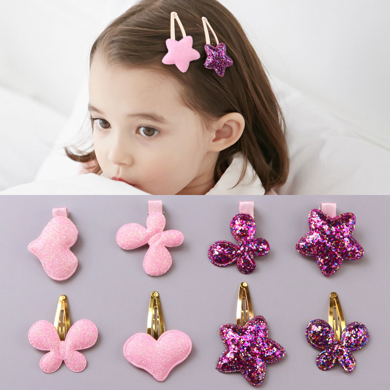 1 Pc Neue Gute Qualität Mädchen Nette Herz Schmetterling Sterne Haar Clips Glod Farbe Bb Clips Sicherheit Haarnadeln Kinder Haar Zubehör