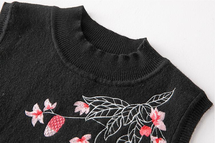 Élégante Chinois Femmes Tricot Broderie Noir Vintage Robe Vêtements Cachemire Traditionnel D'hiver rwrqxHTv