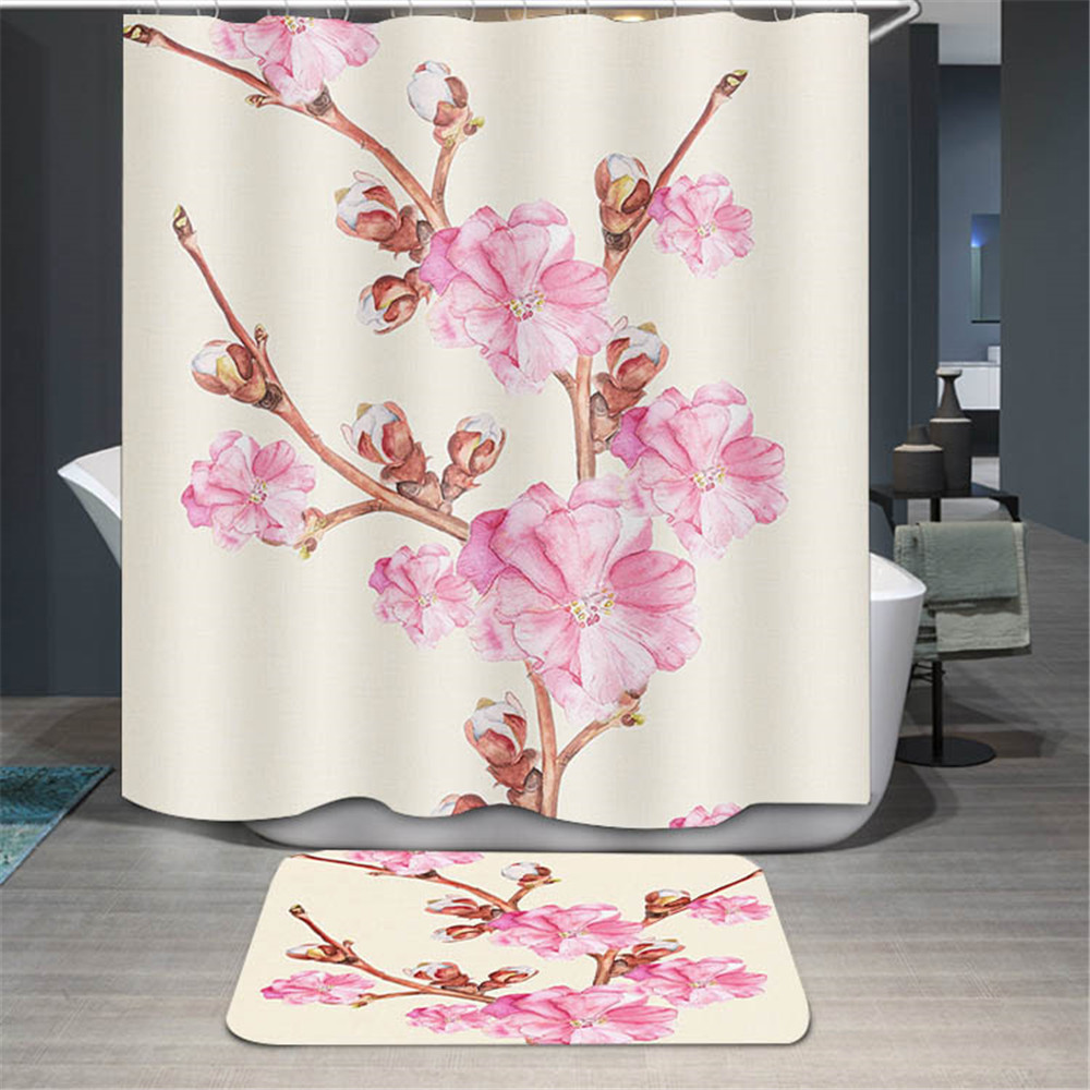 Senisaihon Polyester Printing 3D Shower Curtains Pink Peach Blossom Series Pattern Waterproof Fabric Bathroom Curtain +12 Hooks
