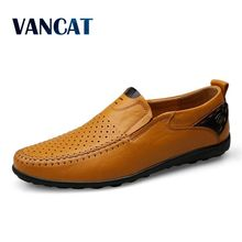 VANCAT Plus Size 38-46 Men Loafers Split Leather Men Casual Shoes Comfortable Quality Men Flats Breathable Summer Men Shoes
