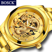 BOSCK Top Brand Luxury Gold Dragon Quartz Watch Stainless Steel Men's Watch Waterproof Wristwatches relogio masculino Gift Clock
