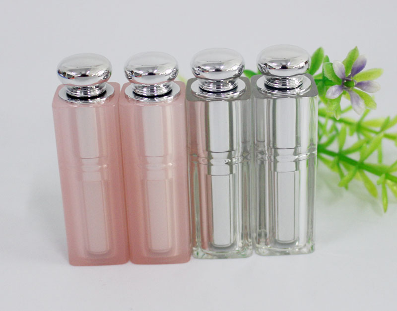 100pcs Empty plastic lipstick tube / pink and silver semi transparent / DIY beeswax tube suitable silicone lipstick mold