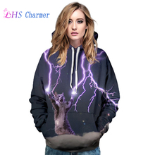 New Hoodies Long Sleeves Hoodied Punk Cat Thunder 3D Digital Print Winter Sweatshirt Women Pull Top Quality Clothing Streetwear