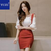 Two Piece Set Women Off Shoulder Tops And Red Suspender Skirt Fall New Office Three Quarter Puff Sleeve White Blouse Mini Skirt