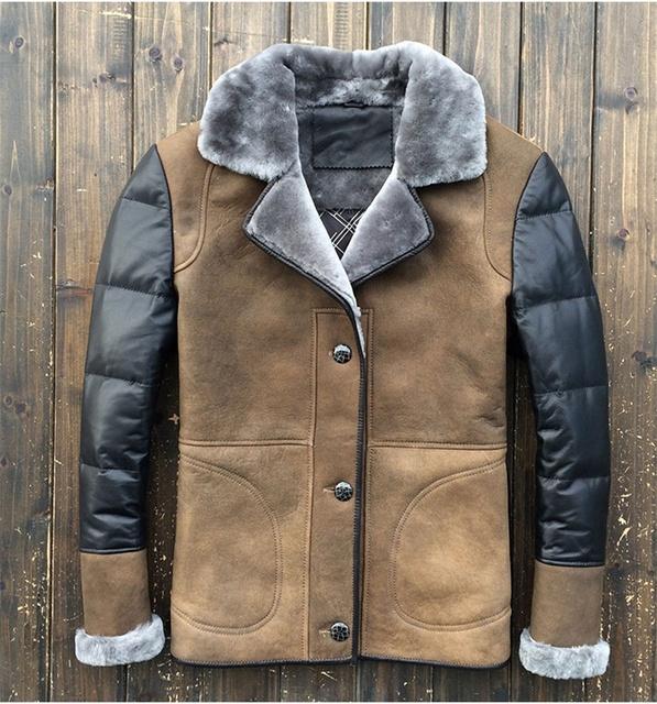 2015 de invierno nueva ovejas superficial conocimiento integrado hombres del párrafo corto de cuero matorral chaqueta JSH576