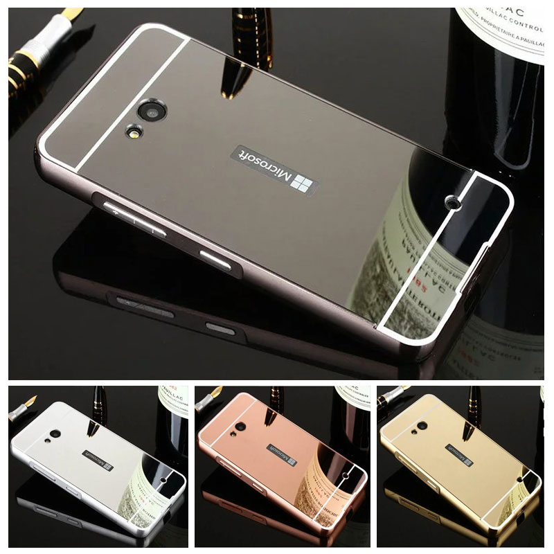 hot sale online 93733 71b9a US $3.88 20% OFF|For NOKIA Lumia 730 Lumia 735 Bumper Case Metal Aluminum  Frame + Mirror PC Back Cover Coque for Nokia 730 Phone Bag Cases Shell -in  ...