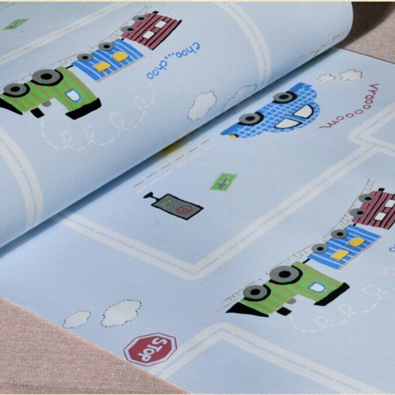 Beibehang Cartoon mode à hd enfants chambre papier peint enfants chambre bleu vert voiture avion 3D papier peint papel de parede - 3
