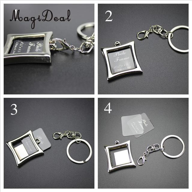 MagiDeal Mini Alloy Insert Picture Photo Frame Keyring Keychain ...