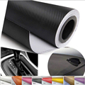 3D Negro de Fibra De Carbono Calcomanía de Vinilo WrapFilm Hoja de la Etiqueta Engomada 127*30 cm 127*60 cmWaterproof DIY 3D decoración etiqueta engomada del coche