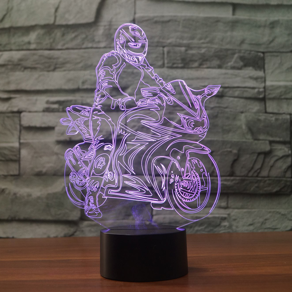 New Ride Motorcycle Model  Illusion 3d Lamp LED 7 Color Changing USB Touch Sensor Desk Table Lamp USB Night Light