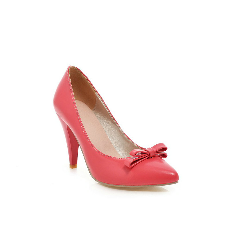 Size 34-43 Spring Autumn Ladies Shoes Slip On Pointed Toe PU leather Thin High Heel Bow Tie Fashion Women Pumps Colour Peach 2015 autumn korean style pointed shoes with thin heels original glass double peach heart design shoes leather shoes