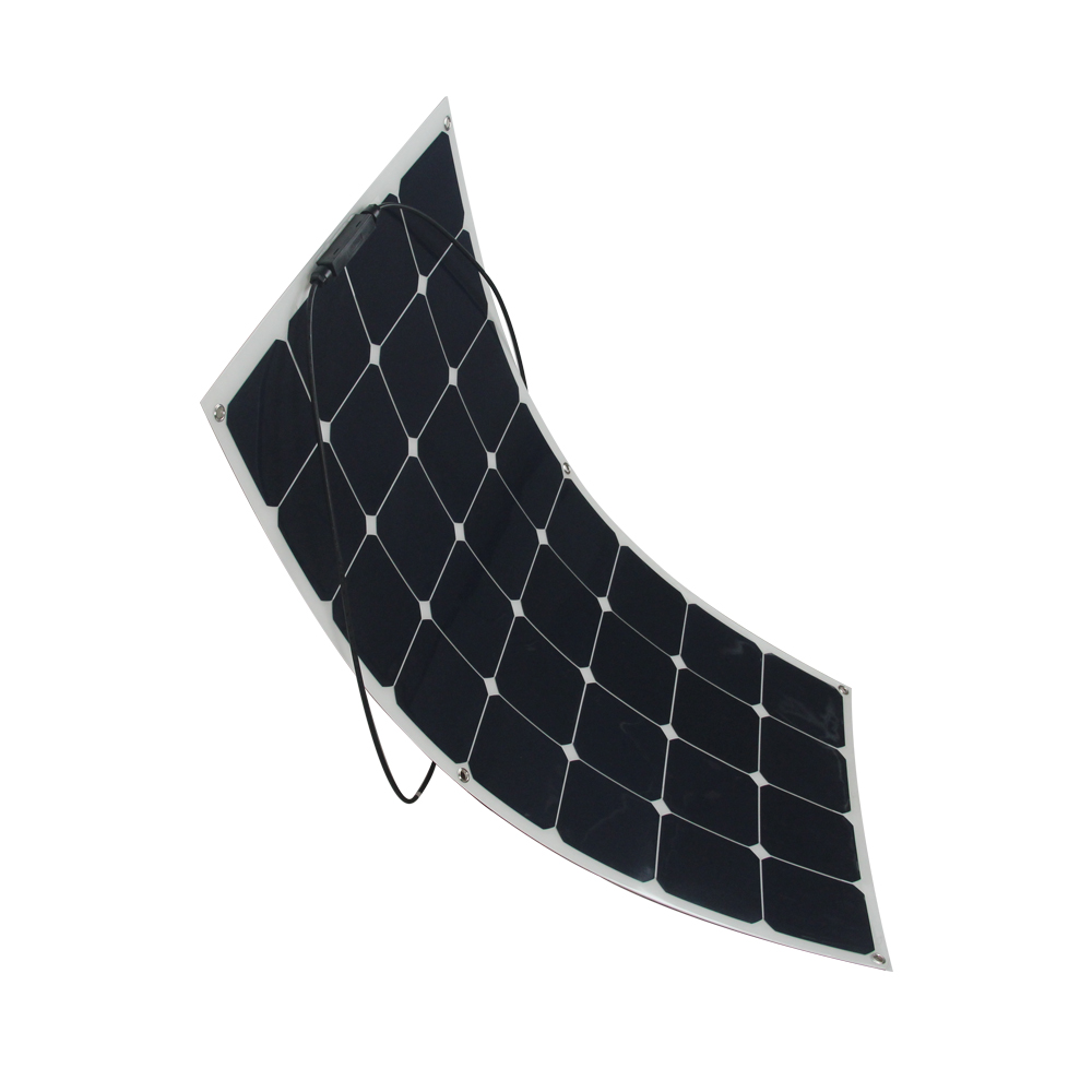 2Pcs Sunpower Semi Flexible Solar Panel Charger 100W 18V For 12V Solar Battery Camping