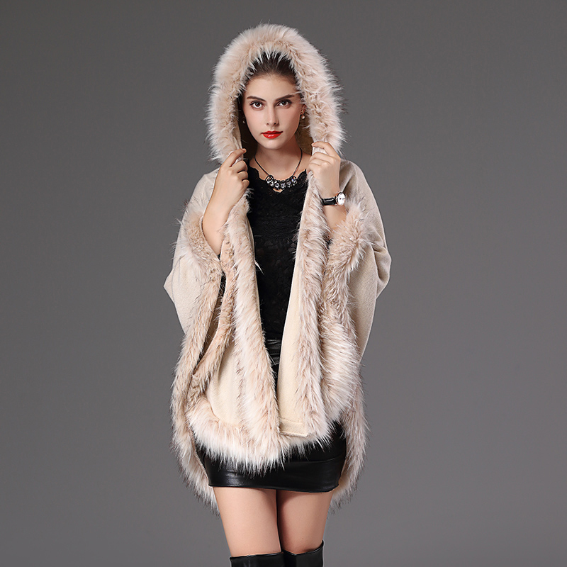 Vogue Brand Designer Women Fur Cape Shawl Coat with Cap Shawl Scarf Raccoon Fur Poncho Cloak