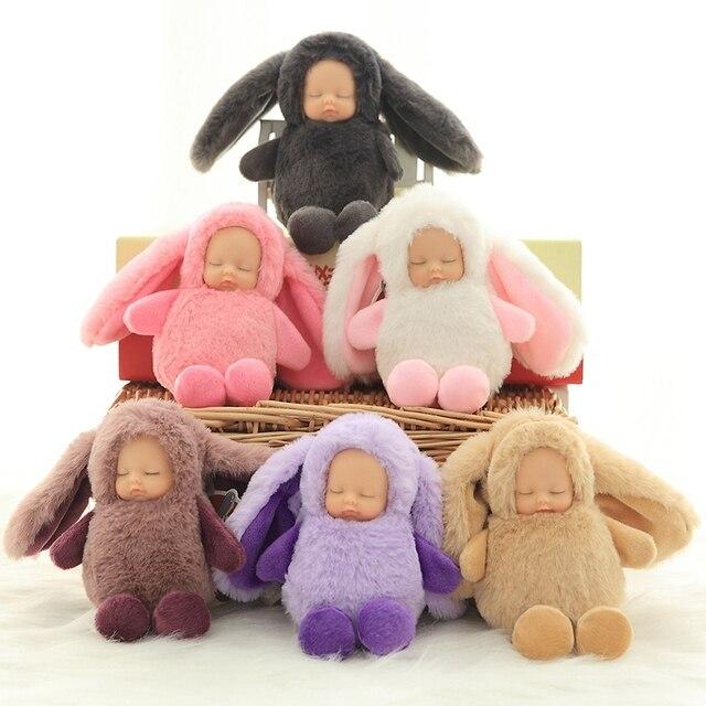 16 cm Bonito Coelho de Pelúcia Dormir Saco Chaveiro Boneca de Silicone Animal Pingente Stuffed Dolls Ornamento Do Pendente Da Menina Brinquedo de Pelúcia Macia presente