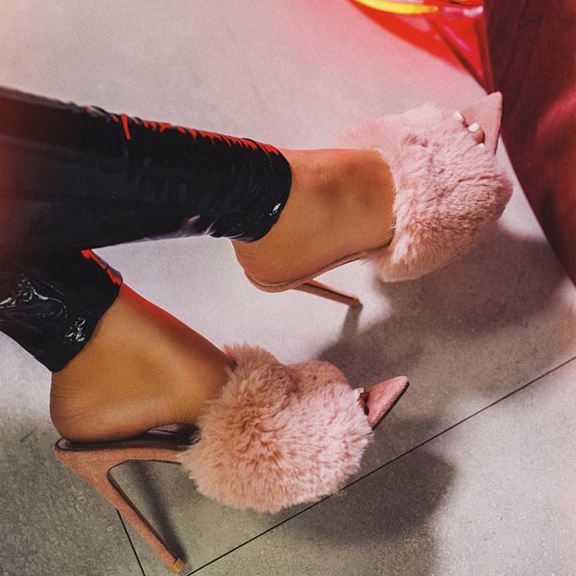 2019 European Station Sandals Candy Color Luxury Rabbit Fur High Heel Sandals Slippers Large Women Shoes Size 35-43 3