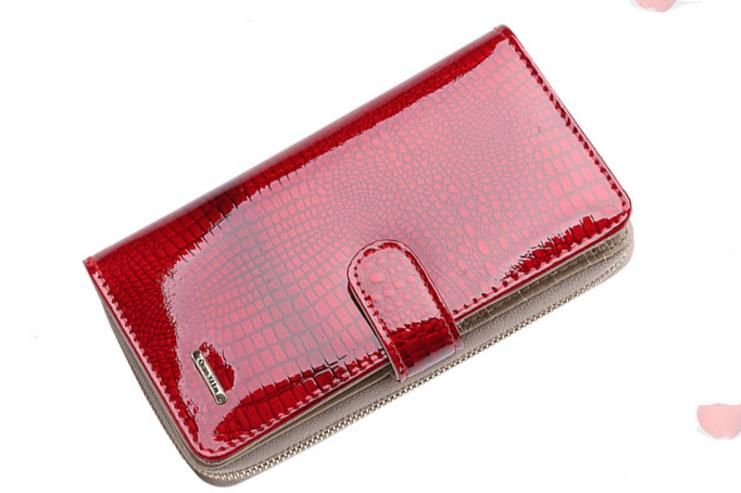 crocodile pattern women wallet Genuine Patent Leather design brand women wallets lady Fashion clutch womens coin purse pocket in Wallets from Luggage Bags