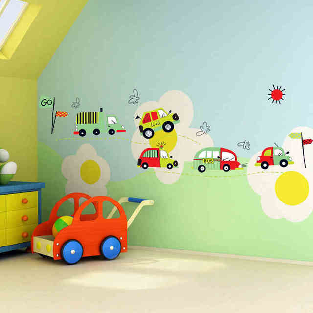 Lovely Car Wall Sticker Boys Room Decal Home Decorations Cartoon Wall Art  Zooyoo7012 Kids Wall Decal Mural Accessories 50x70