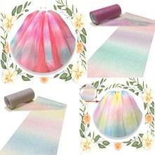 15cm 10Yard/roll Rainbow Gradient Tulle Roll Sequin Magic Yarn Fabric DIY Craft Gift Tutu Skirt Home Wedding Decoration