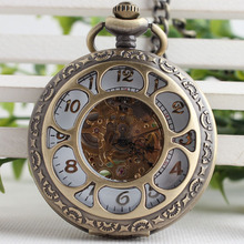Luxury Steampunk Hollow Skeleton Mechanical Pocket Watch Arabic Dial Vintage Fob Chain Pendant Clock Men Women Gifts TJX085