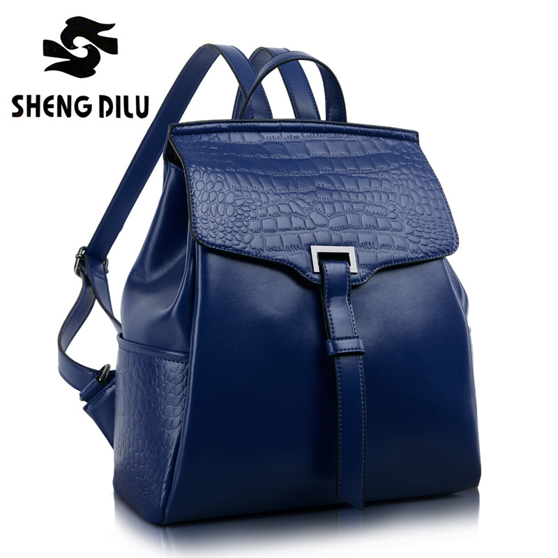 ShengDiLu 100% Real Soft Genuine Leather Women Backpack Woman Korean Style Ladies Strap Laptop Bag Daily Backpack Girl School