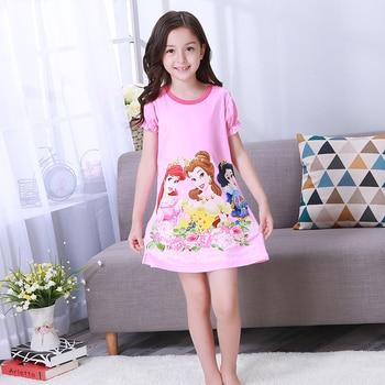 59cbb27b18f92 Girls princess night gown Summer short sleeve Nightgown kids lovely  nightdress cute cartoon child baby sleeping dress 2-12y