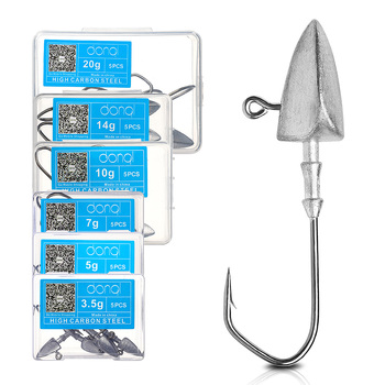 DONQL 5 pièces/boîte tête de gabarit de plomb crochet de pêche barbelé carpe hameçon pour leurre de ver souple 3.5g 5g 7g 10g 14g 20g jeu de crochets de pêche