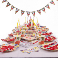93pcs/lot Red Flamingos Birthday Tableware Sets Kids Birthday Party Decorations Children Party Supplies Party Favors Kids Loved