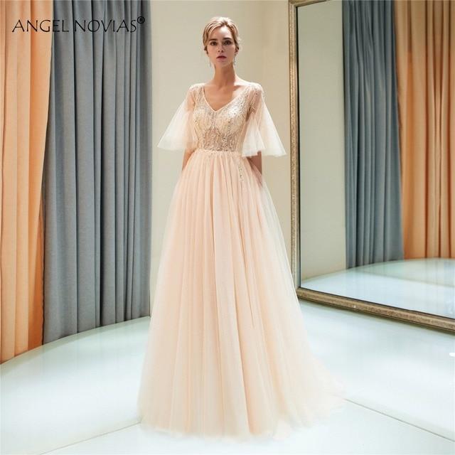 ANGEL NOVIAS Long Champagne Pink Elegant Tulle Prom Dress 2018 with Glitter  Crystals Vestidos De Egresadas Largos 726afa7bce69